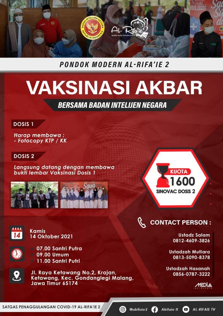 Vaksinasi Akbar bersama Badan Intelijen Negara dan Pondok Modern al Rifa'ie 2